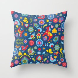 Swedish Folk Art Garden Throw Pillow