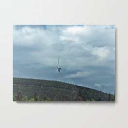 Windmill in the clouds Metal Print