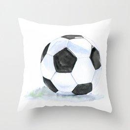 Soccer Ball Watercolor Throw Pillow
