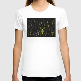 Numerous drawings of incandescent lamps type cartoons T-shirt