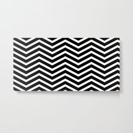 Black & White Chevron Stripes Metal Print