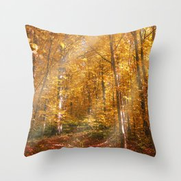 Autumn Forrest Gold Rays Throw Pillow