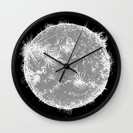 Large Sun Print, monochrome star design by Little Lark Wall Clock