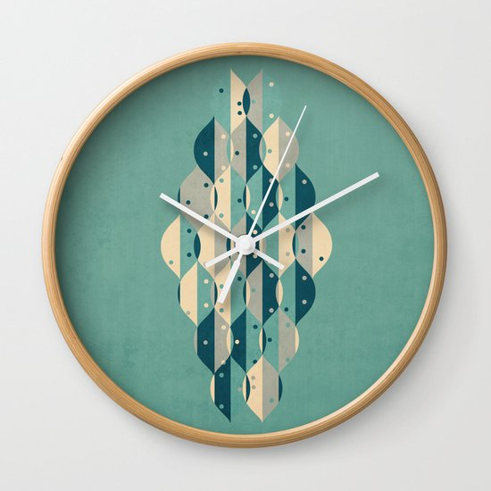 50's floral pattern IV Wall Clock