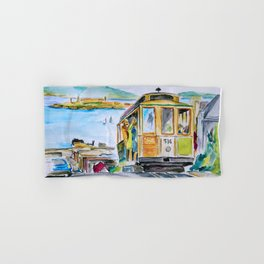 San Francisco Cable Car watercolor Hand & Bath Towel