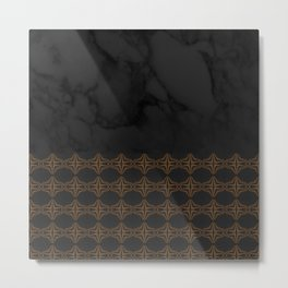 Black Marble with Bronze DecalPattern Metal Print