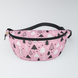 Pink Christmas Tree Forest Pattern Fanny Pack