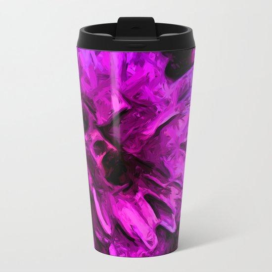 Lavender and Pink Flower Metal Travel Mug