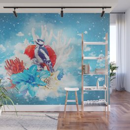 Floral Woodpecker in Winter Wall Mural