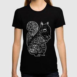 Black Squirrel Printmaking Art T-shirt