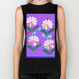 A Spring Rain on Daisies with Lady Bugs and Dragonflies Biker Tank