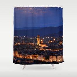 Panorama of Duomo Santa Maria Del Fiore, tower of Palazzo Vecchio. Shower Curtain