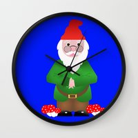 gnome Wall Clocks featuring Gnome by lescapricesdefilles