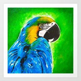 Parrot. Bird Painting. Blue Green Yellow Art Print