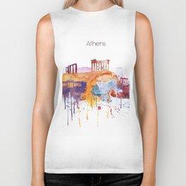 Colorful Athens watercolor skyline Biker Tank
