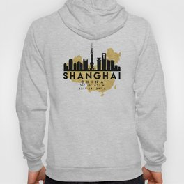 SHANGHAI CHINA SILHOUETTE SKYLINE MAP ART Hoody