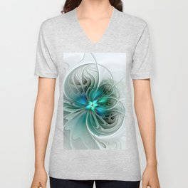 Abstract With Blue, Fractal Art Unisex V-Neck