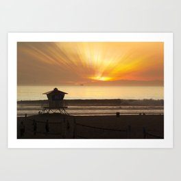 Evening Glass Off Huntington Beach Art Print