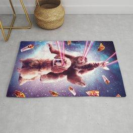 Laser Eyes Space Cat Riding Sloth, Dog - Rainbow Rug