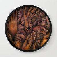 hands Wall Clocks featuring Hands by Colleen Nizolek
