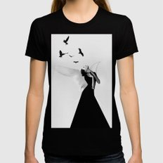 Angel Black SMALL Womens Fitted Tee
