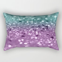 Aqua Purple MERMAID Girls Glitter #2 #shiny #decor #art #society6 Rectangular Pillow
