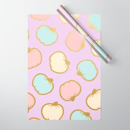Pastel Pumpkin Pattern with Gold Wrapping Paper