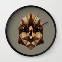 hawk Wall Clocks featuring Hawk by KUI29
