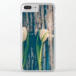 White Easter Tulip Flowers on Wooden Blue Old Planks Clear iPhone Case