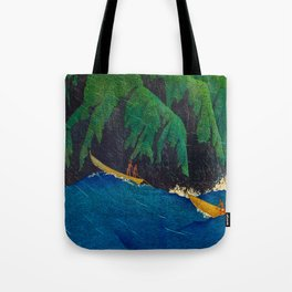 Kawase Hasui Vintage Japanese Woodblock Print Beautiful Green Cliffs Raging Blue Waters With Fisherm Tote Bag