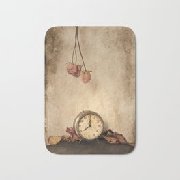 Still life alarm clock Bath Mat