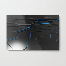 Black fractured surface with blue glowing lines Metal Print