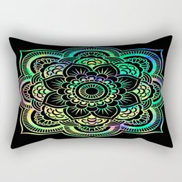 Neon Psychedelic Mandala Rectangular Pillow