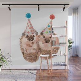 Twins Hedgehog with Party Hat Wall Mural