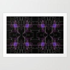 Circuit board purple repeat Art Print