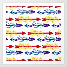Watercolor Neck Gaiter Bright Watercolor Pattern Red and Blue Arrows Neck Gator Art Print