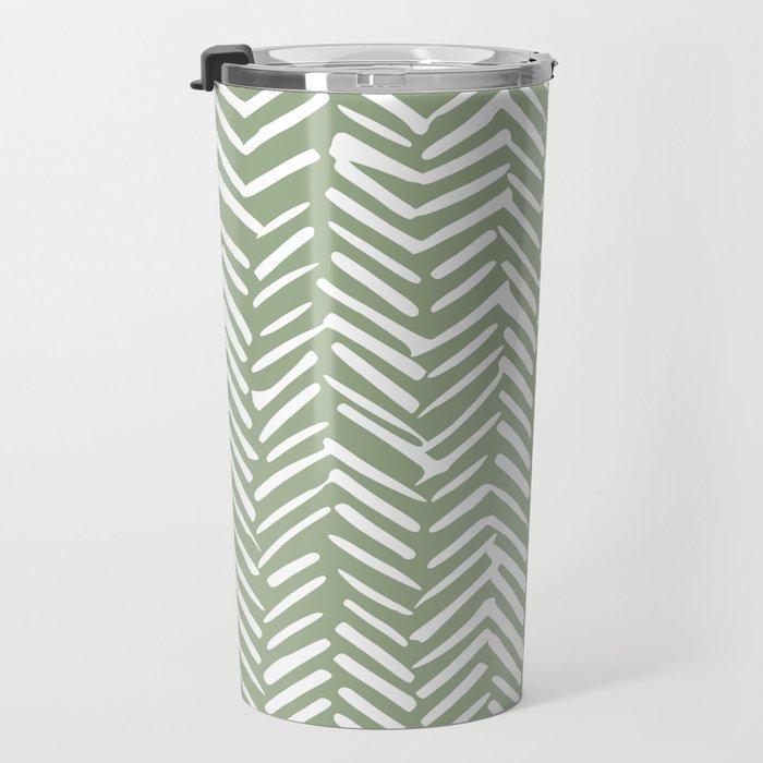 Boho Herringbone Pattern, Sage Green and White Travel Mug