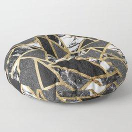 Modern Faux Gold Glitter Marble Geometric Triangle Floor Pillow