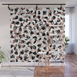 Modern faux rose gold marble brushstrokes dots pattern Wall Mural