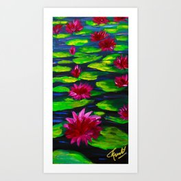 Pink and Red Lotus on Water Art Print