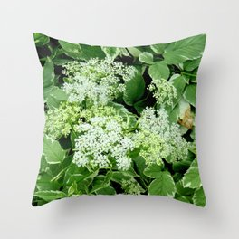 AWESOME DELICATE GREEN LACE FLOWERS Throw Pillow