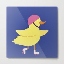 Duck on Roller Skates Metal Print