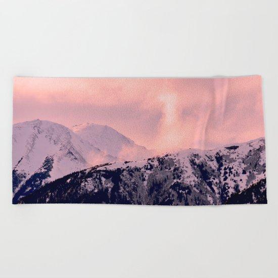 Kenai Mts Bathed in Serenity Rose - II Beach Towel