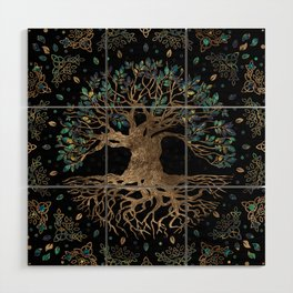 Tree of life -Yggdrasil Golden and Marble ornament Wood Wall Art