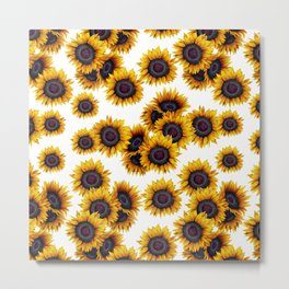 Sunflowers yellow white and dark grey pattern Metal Print