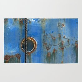 Blue Rusty, Grungy Ship Detail Rug