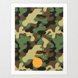 CAMO & ORANGE BOMB DIGGITY Art Print