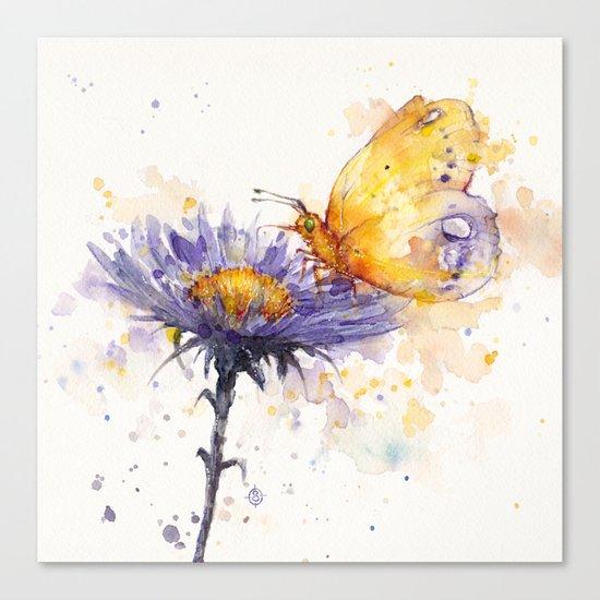 Flowers & Flutters Canvas Print