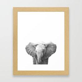 Black and White Baby Elephant Framed Art Print