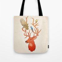 antlers Tote Bags featuring Antlers by Jonathan Sims